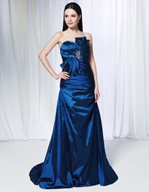 Royal Blue Pleated Elegant A-Line Strapless Taffeta Long Prom Dresses