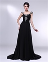 Long Black Chiffon Evening Dress, Black Chiffon Dress With Cap Sleeves
