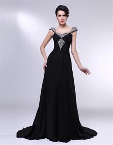Long Black Chiffon Evening Dress, Black Chiffon Dress With Cap Sleeves