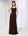 Chiffon Empire Waist Bridesmaid Dresses, Brown Halter Bridesmaid Dress