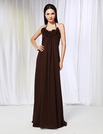 Chiffon Empire Waist Bridesmaid Dresses, Brown Halter Bridesmaid Dress