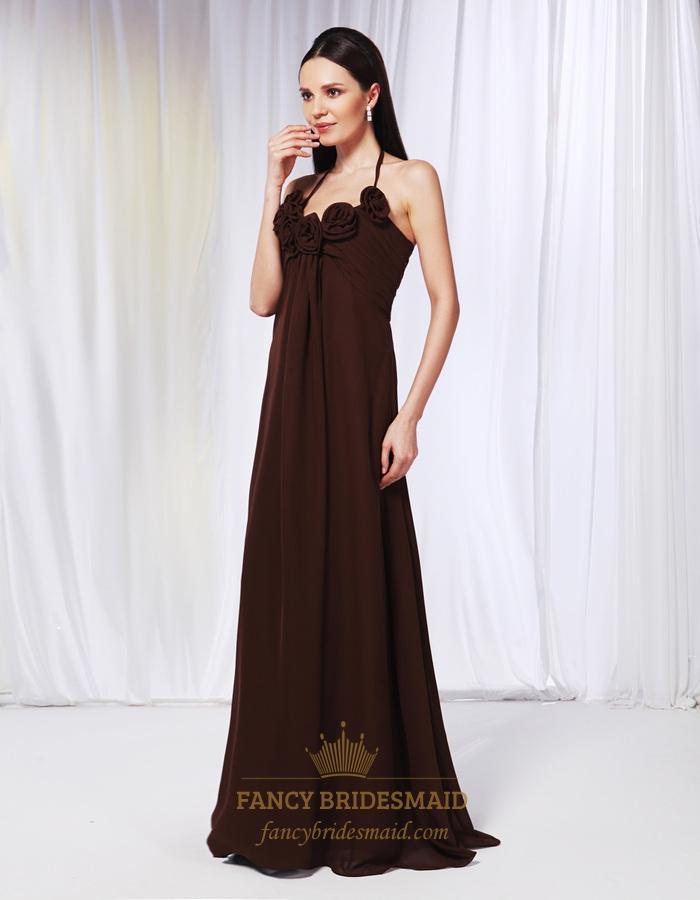 Chiffon empire waist bridesmaid dresses brown halter for Halter empire waist wedding dresses