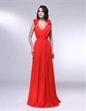 V-Neck Floor Length Chiffon Prom Dress, Orange Red Prom Dresses