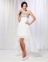 Chiffon High Low Prom Dress, Beaded Bodice High Low Prom Dresses