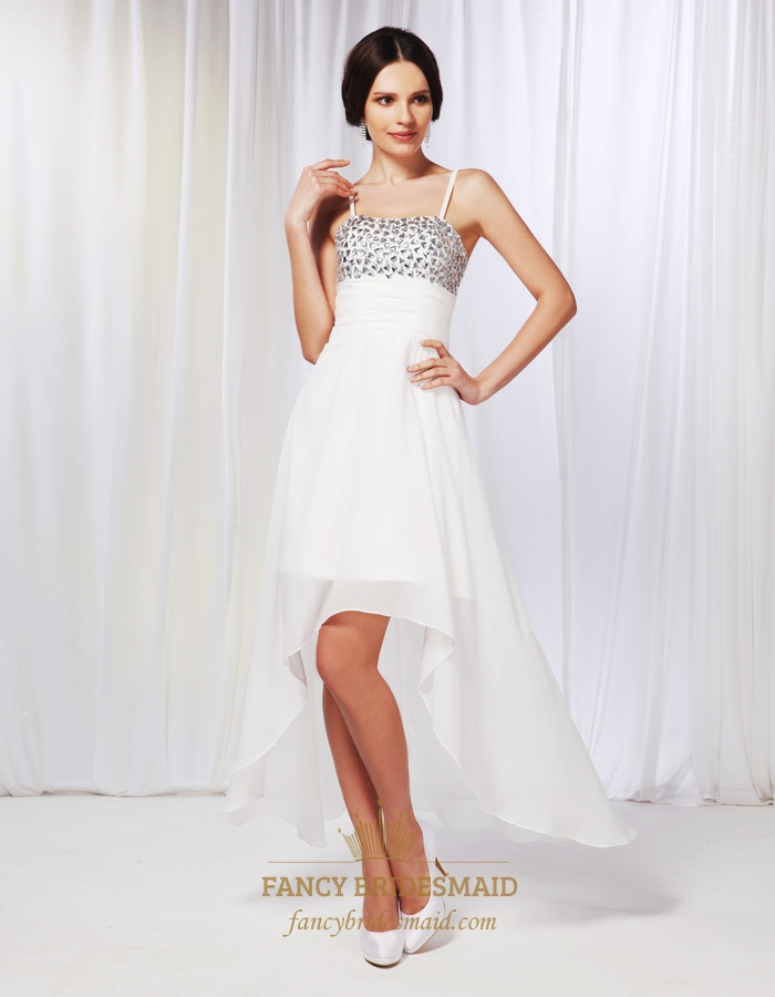 Chiffon High Low Prom Dress, Beaded Bodice High Low Prom Dresses