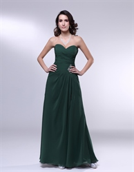Forest Green Dresses For Bridesmaids, Chiffon Sweetheart Prom Dress