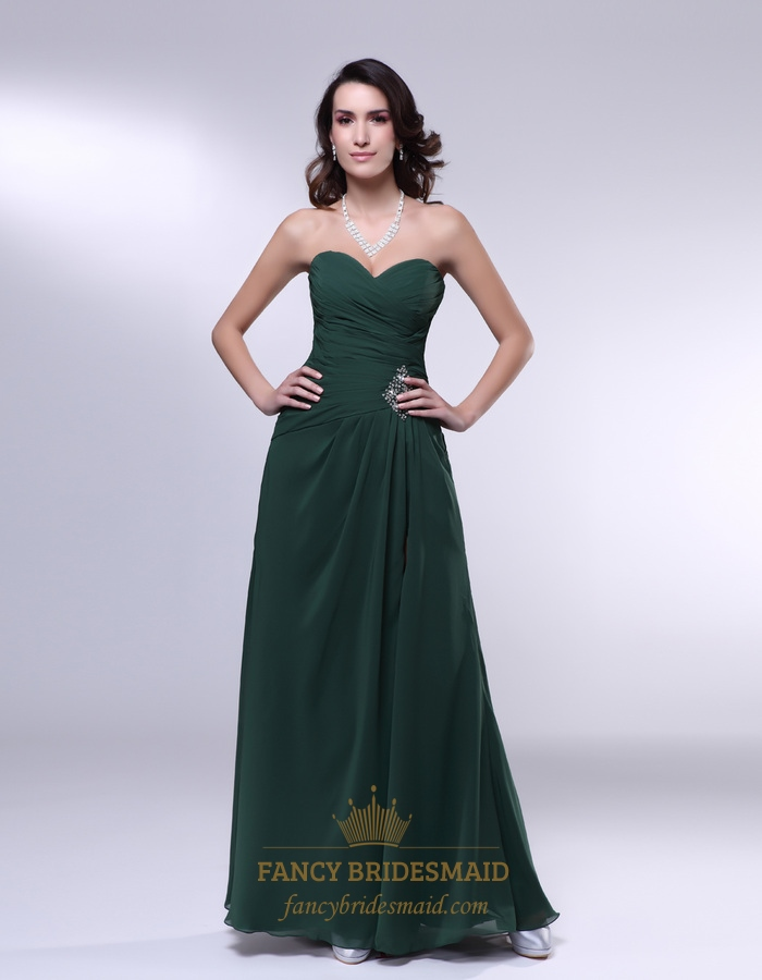 Forest Green Dresses For Bridesmaids Chiffon Sweetheart Prom Dress