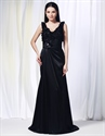 V Neck Black Evening Gown,Floor Length Gown With Floral Embellishments