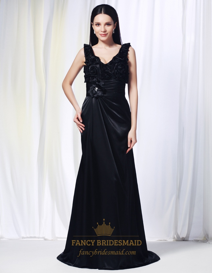 V Neck Black Evening Gown, Floor Length Gown With Floral ...