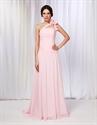 One Shoulder Chiffon Prom Dress, Pink One Shoulder Dress With Flower