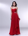 Red Chiffon Prom Dress, Chiffon Gown With Side Drape And Beaded Detail