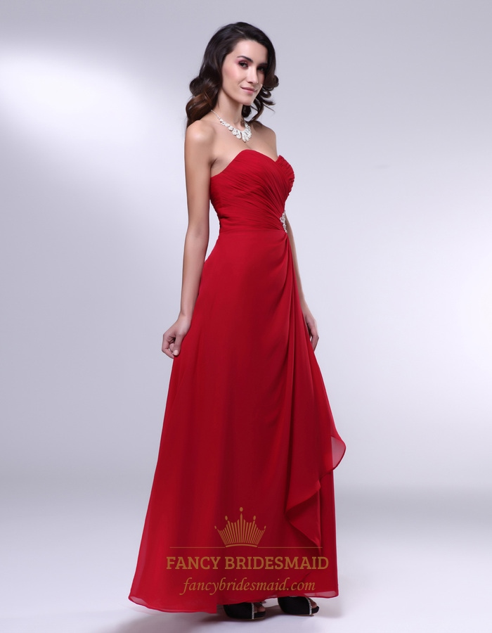 Red chiffon prom dress chiffon gown with side drape and for Sheath wedding dress with beading and side drape