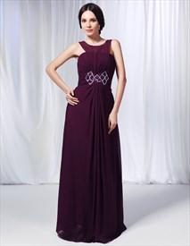 Grape Chiffon Bridesmaid Dress, Purple A-Line Floor-Length Scoop Dress