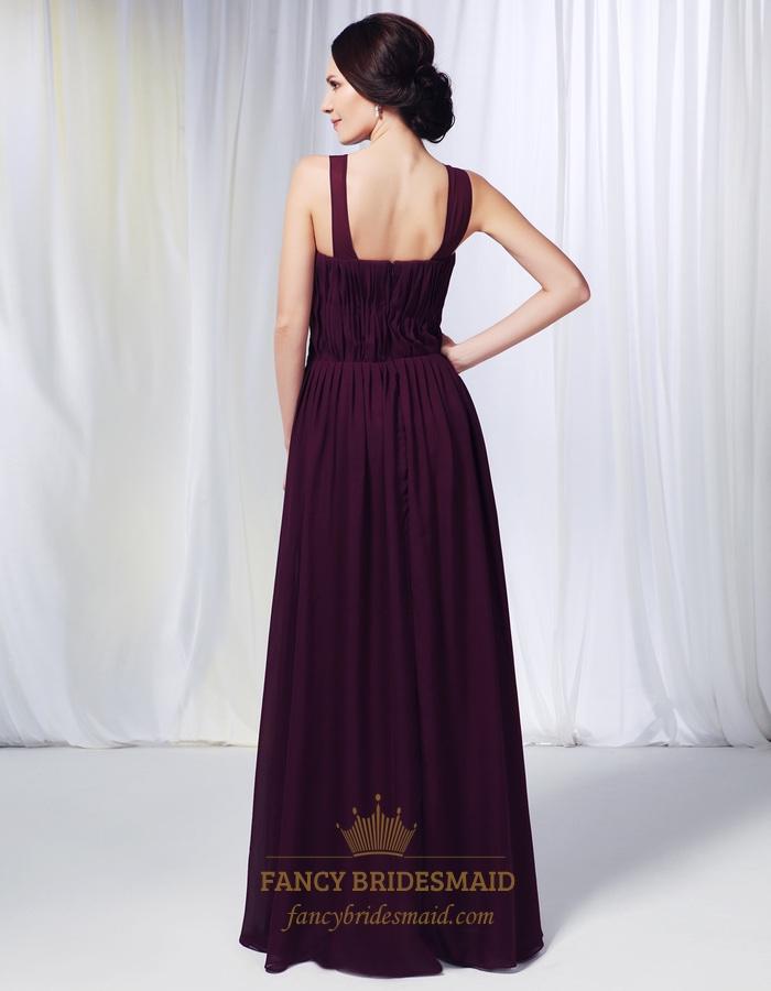 Grape Chiffon Bridesmaid Dress, Purple A-Line Floor-Length ...