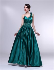 Pleated Beaded Waist One-Shoulder Dress, Emerald Green Dress For Prom
