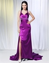 Violet Purple Prom Dresses, Long Evening Dresses With Side Split
