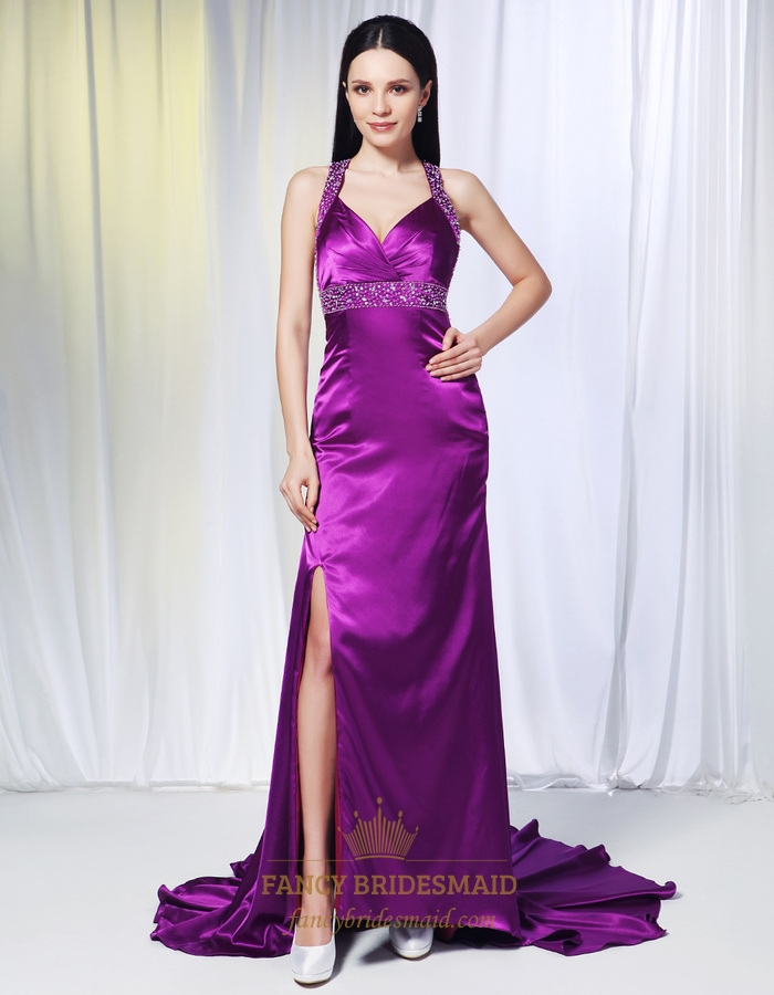 Violet Purple Prom Dresses, Long Evening Dresses With Side Split ...