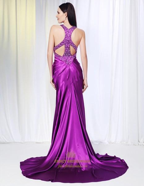 Violet Purple Prom Dresses, Long Evening Dresses With Side Split
