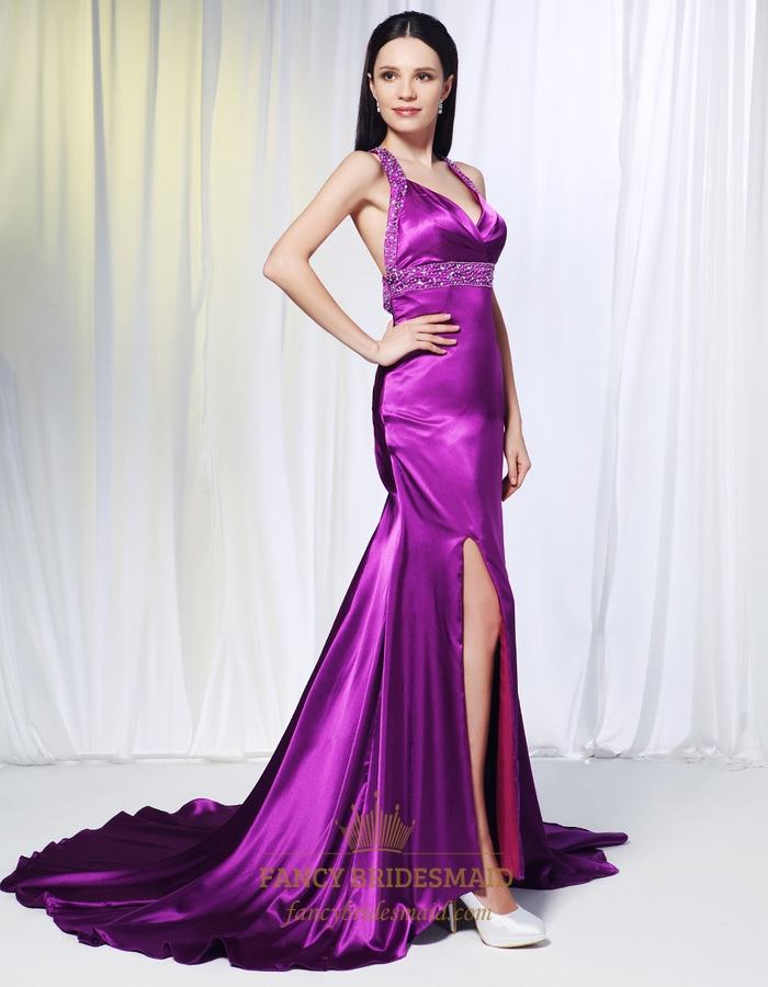 Violet Purple Prom Dresses Long Evening Dresses With Side Split Violet Empire Soft Purple
