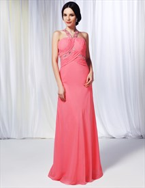 Watermelon Chiffon Bridesmaid Dress,Chiffon Beaded Illusion Prom Dress