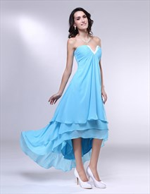 Aqua High Low Prom Dress, Strapless Chiffon Dress With Layered Skirt