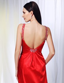 Straps V Neck Red Prom Dress With Sweep Train, Open Back Prom Dresses