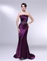 Eggplant Formal Dress,Strapless Mermaid Floor Length Fitted Prom Dress