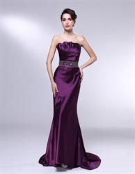 Eggplant Formal Dress,Strapless Mermaid Floor Length Fitted Prom Dress