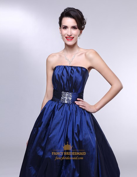 Royal Blue Strapless Prom Dress, Strapless Ball Gown Prom Dresses