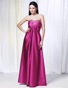 Hot Pink Strapless Sequin Prom Dress, Beaded Empire Waist Prom Dresses