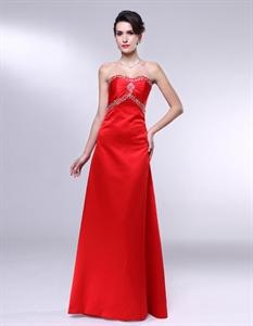 Red Satin Long Bridesmaid Dresses, Empire Waist A Line Prom Dress