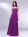 Violet Purple Prom Dresses, Strapless Floor Length Chiffon Prom Dress