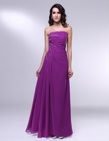 Violet Purple Prom Dresses, Strapless Floor Length Chiffon Prom Dress