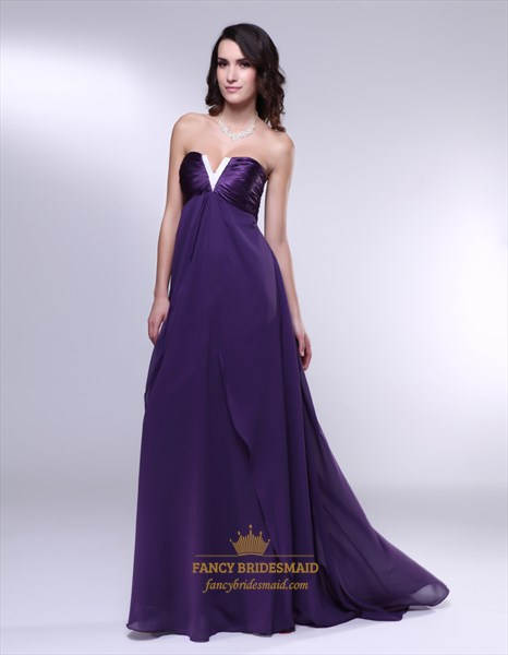Eggplant Purple Formal Dresses, Strapless Empire Waist Prom Dresses
