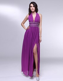 V-Neck Floor Length Chiffon Prom Dress, Floor Length Elegant Halter Gown