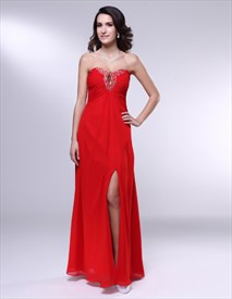Long Strapless Chiffon Formal Gown, Red Chiffon Empire Waist Dress
