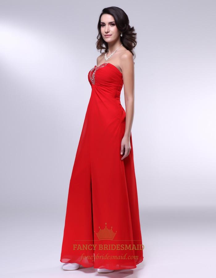 Long Strapless Chiffon Formal Gown- Red Chiffon Empire Waist Dress ...
