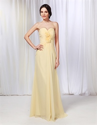 Chiffon Strapless Ruched Bodice Bridesmaid Dress, Pale Yellow Bridesmaid Dresses