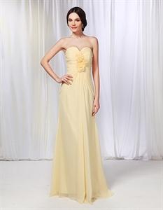 Chiffon Strapless Ruched Bodice Bridesmaid Dress, Pale Yellow Bridesmaid Dresses