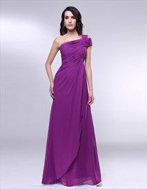 One Shoulder Chiffon Prom Dress, Draped Chiffon One Shoulder Dress