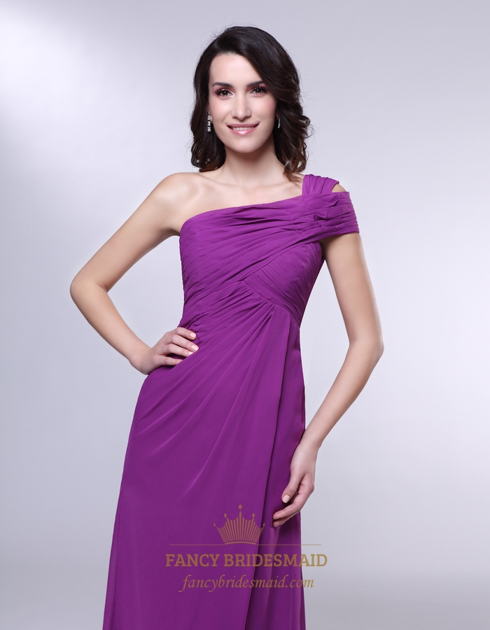 One Shoulder Chiffon Prom Dress, Draped Chiffon One Shoulder Dress ...