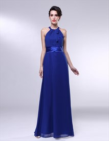 Royal Blue Chiffon Bridesmaid Dresses, A-Line Halter Chiffon Bridesmaid Dress