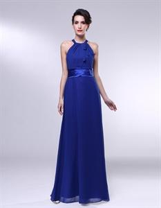 Royal Blue Chiffon Bridesmaid Dresses, A-Line Halter Chiffon Bridesmaid Dress