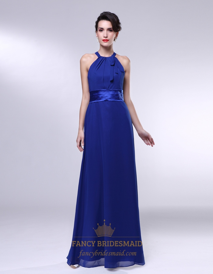 Royal blue chiffon bridesmaid dresses a line halter for Aline halter wedding dresses
