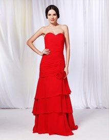 Strapless Chiffon Dress With Layered Skirt, Chiffon Sweetheart Prom Dress