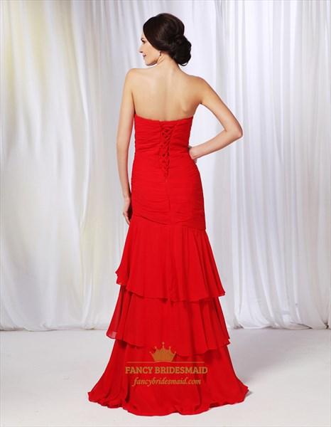 Strapless Chiffon Dress With Layered Skirt, Chiffon Sweetheart Prom Dress