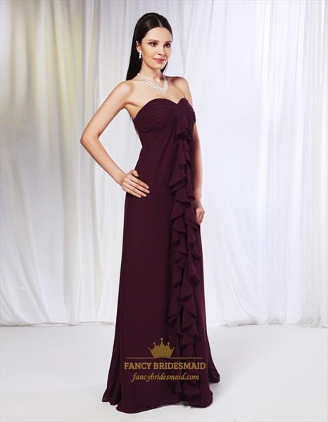 Strapless Cascade Ruffle Dress, Chiffon Empire Waist Bridesmaid Dress