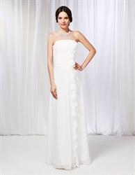 Strapless Chiffon Dress With Ruffle Detail, Sheath Chiffon Bridesmaid Dress