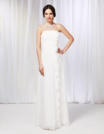 Strapless Chiffon Dress With Ruffle Detail, Sheath Chiffon Bridesmaid Dress