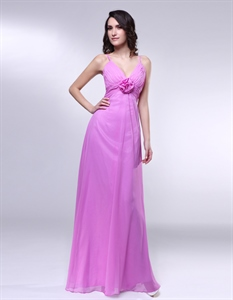 Chiffon V-Neck Bridesmaid Dress W/ Rosette Waist, Empire Waist Formal Dress